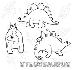 Dinosaur Stegosaurus Cartoon Vector Illustration Monochrome