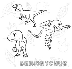 Dinosaur Deinonychus Cartoon Vector Illustration Monochrome