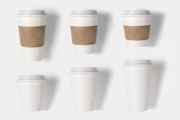 Design concept of mockup coffee cup set on white background. Cop