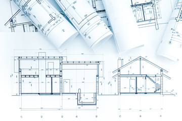 architectural project drawings, rolls and house plan
