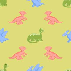 Colored cartoon dinosaurs