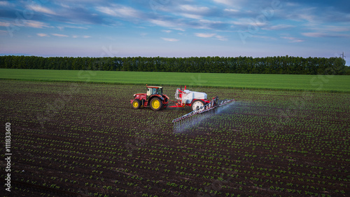 Wall mural Tractor spraying field at spring