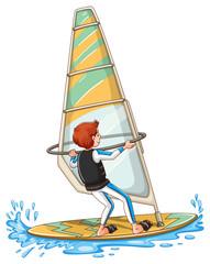 Man sailing on windsurf