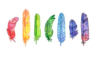 set of watercolor rainbow feathers