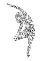 Tree Pose Yoga, Vriksasana yoga position posture, hand drawn