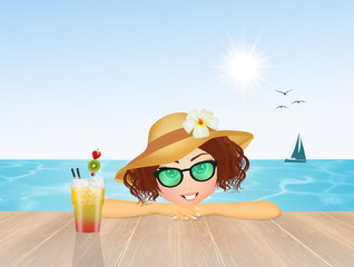girl with cocktail in summer