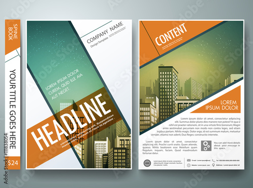 Flyers design template vector brochure annual report for Magazine storyboard template