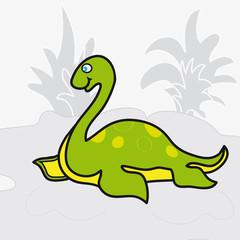 Dinosaur on a background of vegetation.