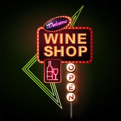 Wine shop neon sign