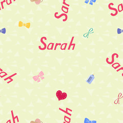 Seamless background pattern name Sarah of the newborn. Name baby Sarah. Seamless name Sarah. Sarah vector.