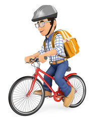 3D Young student going to school by bike