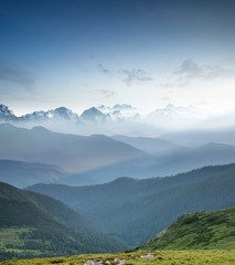 Hills during sunrise in mountain valley. Beautisul natural landscape