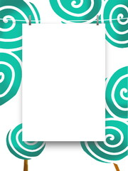 Close-up of one blank frame hanged bu pegs against aqua abstract trees illustration background