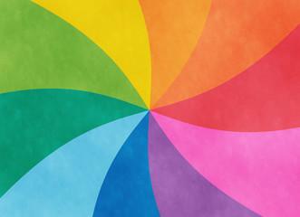虹色アナログ風渦巻き背景イラスト素材 横方向・横長