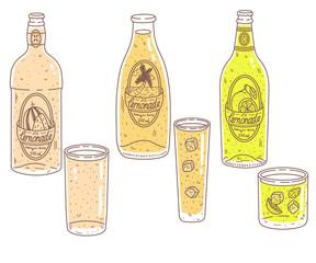 Doodle cartoon lemonade glasses and bottles set. Hand drawn cocktales vector illustration: lemon, watermelon, orange. Front view.