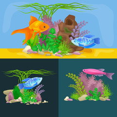 Papiers peints Sous-marin Underwater vector world background with fish, seaweed and bubbles
