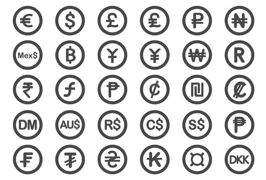Currency symbol icons - Illustration