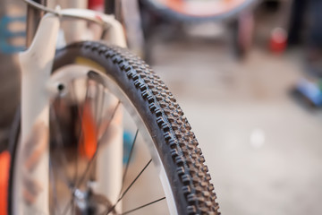 Close-up photo of front rubber on bicycle