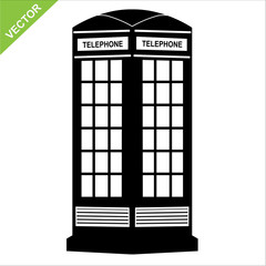 silhouette telephone call box vector