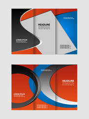 Front and back presentation of professional Two page Business Trifold, Flyer, Banner or Template design.