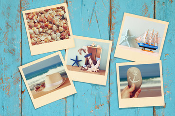 top view of instant photos album on wooden background