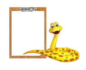 Snake cartoon character with exam pad