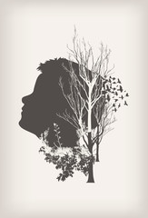 Double exposure portrait of boy, forest and birds