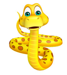 fun sitting  Snake cartoon character