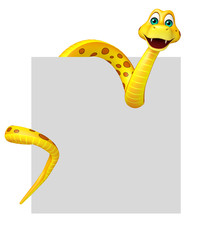 Snake cartoon character with board
