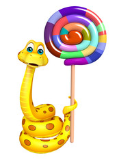 Snake cartoon character  with lollypop