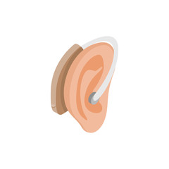 Hearing aid on an ear icon, isometric 3d style