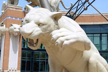 Tiger statues adorning Comerica Park Baseball Stadium, Detroit Michigan