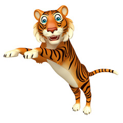 cute jump Tiger cartoon character
