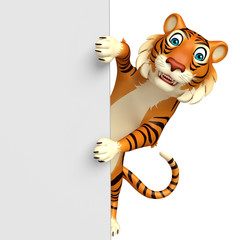 fun  Tiger cartoon character with board