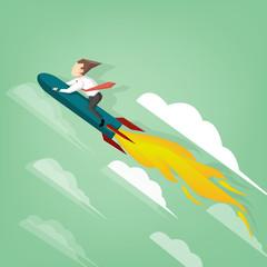 Businessman flying on the rocket
