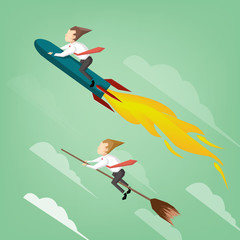 Businessman flying on the rocket competition with witch ride broom.