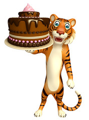 Tiger cartoon character with cake