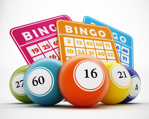 Bingo balls and cards. 3D illustration