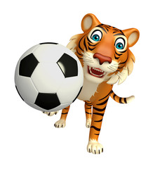 Tiger cartoon character with football