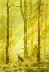 акварель природа лес