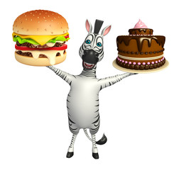 cute Zebra cartoon character with burger and cake