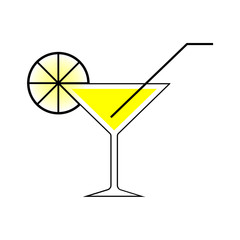 Martini glass with a straw. EPS10 Vector