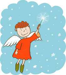 Angel with magic wand in the sky