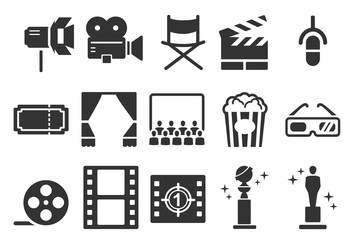 Stock Vector Illustration: Movies icons