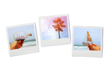 stack of Instant photos, isolated on white background.