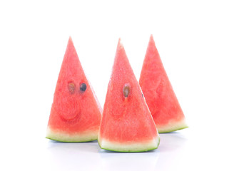 Watermelon cut pieces on white background.