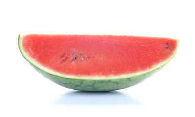 Watermelon cut half on white background.