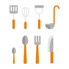 Cutlery Set. Basic set of tableware isolated on white background