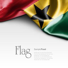 Flag of Ghana on white background. Sample text.