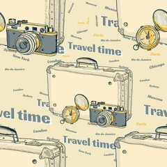 Tourism seamless pattern suitcase old camera compass vector
